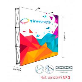 Pop-Up Photocall 3x3 Velcro Estructura Pop-up de aluminio + Gráfica impresa en textil + maleta tipo trolley + Focos de iluminación Grafica textil medida 2290x2290 mm. Sistema Velcro Recto / 1 cara con gráfica impresa en textil