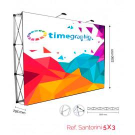 Pop-Up Photocall 5x3 Velcro Estructura Pop-up de aluminio + Gráfica impresa en textil + maleta tipo trolley + Focos de iluminación Grafica medida 3800x2290 mm. Sistema Velcro Recto / 1 cara con gráfica impresa en Textil