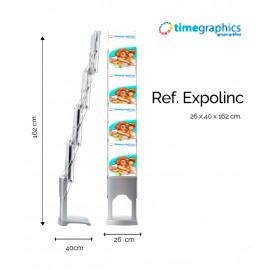 PORTAFOLLETOS Expolinc Expositor expolinc para folletos A4 con maleta blanda. Los soportes están fabricados en policarbonato. Dimensiones 26 x 40 x 162 cm. Acabado en plata. 21% IVA no incluido.