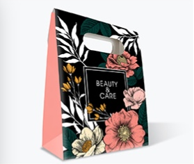 Packaging Estándar. Caja tipo bolsa. Soporte: Teknocard Impresión a una cara CMYK DIMENSIONES: 21x22x10 cm Plastificado: Digital Mate 25µ 1 cara.